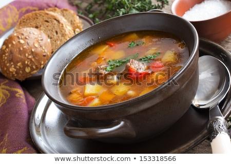 zöldségek · pörkölt · szeletek · padlizsán · paprikák · krumpli - stock fotó © ironstealth