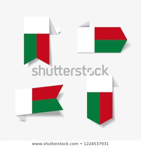 квадратный Label флаг Мадагаскар изолированный белый Сток-фото © MikhailMishchenko