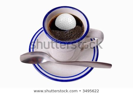 белый чашку кофе мяч для гольфа черный стекла пластина Сток-фото © CaptureLight