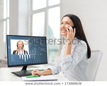 glimlachend · zakenvrouw · student · smartphone · onderwijs · business - stockfoto © dolgachov
