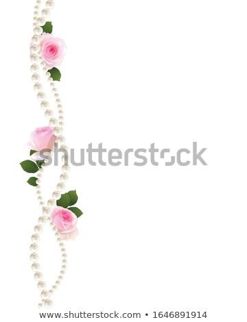 Rózsaszín rózsák csipke keret esküvő kép Stock fotó © Irisangel