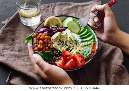 comer · vegan · ilustração · menina · comida · compras - foto stock © adrenalina