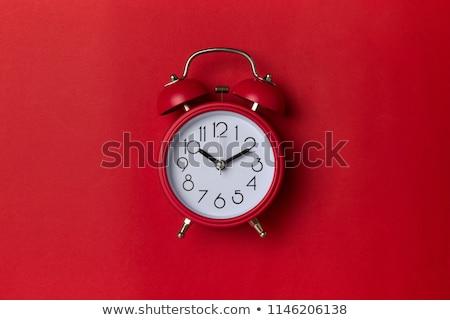 Vermelho sino relógio despertador isolado branco Foto stock © tetkoren