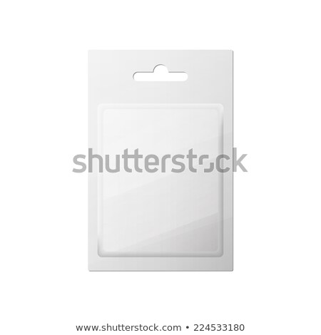 Plastic Transparent Blister With Hang Slot, Product Package. Illustration Isolated On Black Backgrou Stock photo © netkov1