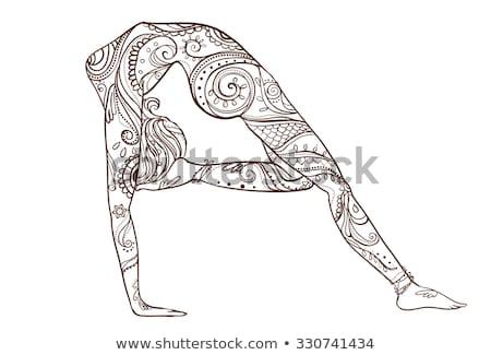 Jóga tornász sziluett mértani dizájn elem üzlet Stock fotó © shawlinmohd