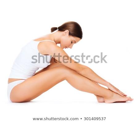szőke · nő · fehér · pamut · alsónemű · kép · szépség - stock fotó © dolgachov