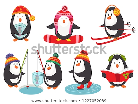 cute cartoon skiers skaters and snowboarders stock photo © voysla