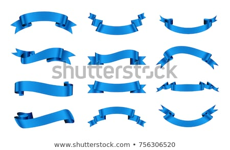 set of blue ribbon banners for promotion collection of retro scrolls elements for design vector il stock photo © rommeo79
