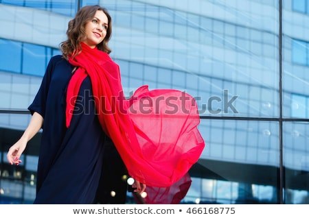 fashionable woman in red scarf Stock photo © ssuaphoto