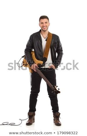 Feliz joven pie guitarra blanco Foto stock © deandrobot