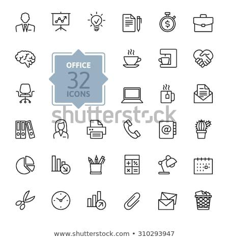 Faxgép vonal ikon sarkok háló mobil Stock fotó © RAStudio