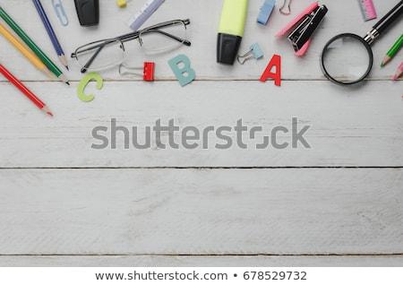 Lächeln Wort Büro Werkzeuge Holztisch Schule Stock foto © fuzzbones0