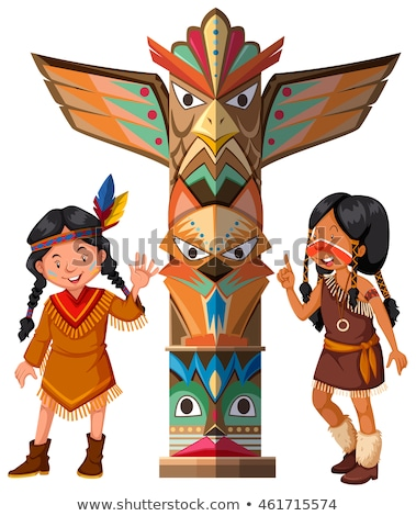 Two Red indians and totem pole Stock photo © bluering