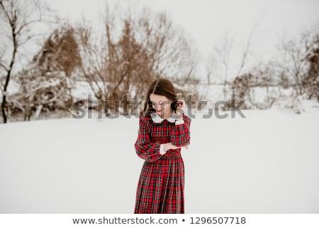 Kız kırmızı elbise poz açık havada güzel genç kadın Stok fotoğraf © gravityimaging