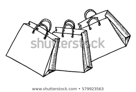 bevásárlószatyor · rajz · ikon · vektor · izolált · kézzel · rajzolt - stock fotó © rastudio