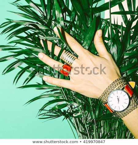jewelry watch on a green background Stock photo © blackmoon979