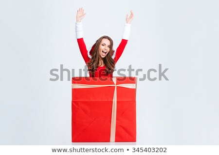 cheerful pretty young woman in santa claus dress with hood stock photo © deandrobot