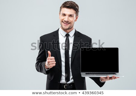 gelukkig · zakenman · tonen · display · laptop · computer · foto - stockfoto © deandrobot