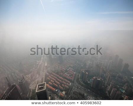 Sanghaj Kína sziluett kék ég pára szennyezés Stock fotó © Qingwa