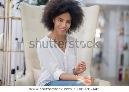 красивая девушка белая блузка модель торговых груди молодые Сток-фото © ssuaphoto