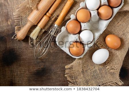 tojások · tálca · felső · kilátás · friss · tojás - stock fotó © shutter5