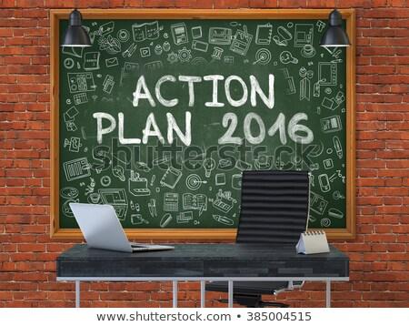 ação · plano · estratégia · tática · quadro-negro · ilustração · 3d - foto stock © tashatuvango