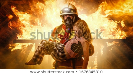 Firefighters and Saved Man Stock photo © derocz