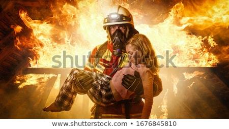 Bomberos hombre blanco negro ilustración vector Foto stock © derocz