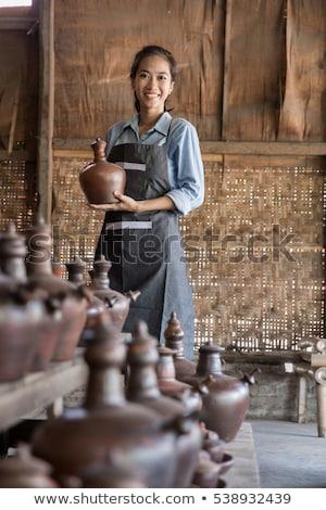 Férfi női áll cserépedények műhely portré Stock fotó © wavebreak_media