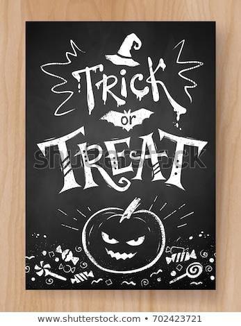 Halloween cartão postal projeto preto e branco gato preto abóboras Foto stock © Sonya_illustrations