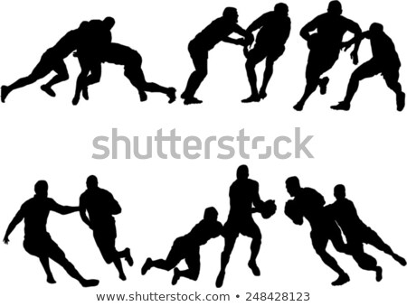 silhouette of playing rugby black stock photo © olena