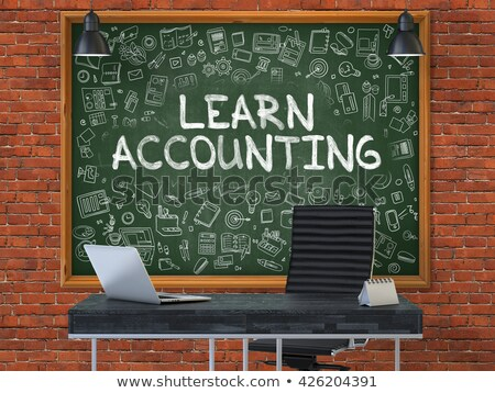 chalkboard on the office wall with learn accounting concept stock photo © tashatuvango