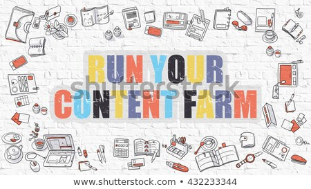 Courir contenu ferme doodle design style moderne Photo stock © tashatuvango