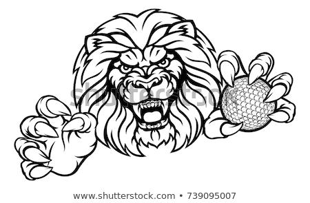 Oroszlán golflabda sportok kabala mérges állat Stock fotó © Krisdog