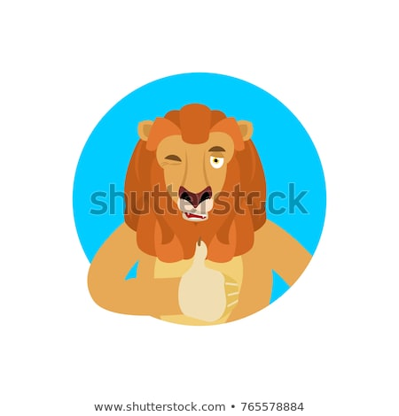 Lion thumbs up and winks emoji. Wild animal happy emoji. Vector  Stock photo © popaukropa