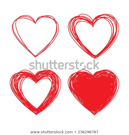 red scribble hearts background greeting design Stock photo © SArts