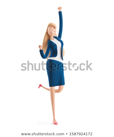 Stock photo: 3D Business woman jumping for joy. Success in business