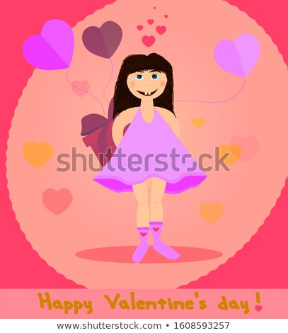 Valentines Day Card lettering Be my Valentine. Pink hearts background. Vector illustration Stock photo © mcherevan