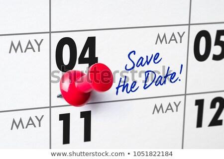 Foto stock: Pared · calendario · rojo · pin · cumpleanos · nota