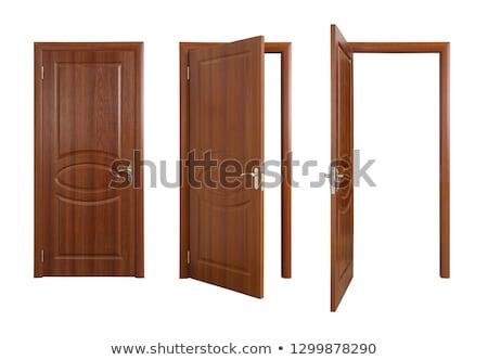 ahşap · kapılar · ayarlamak · altı · dış · tuğla - stok fotoğraf © matt_post