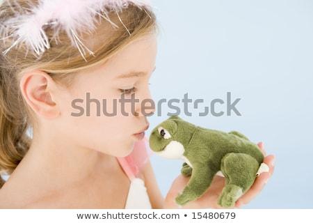 genç · kız · prenses · kostüm · öpüşme · peluş · kurbağa - stok fotoğraf © monkey_business