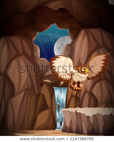 Owl hunting at night in cave Stock photo © bluering