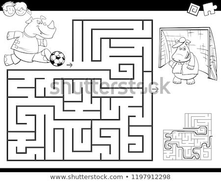 Cartoon laberinto actividad rinoceronte jugando fútbol Foto stock © izakowski