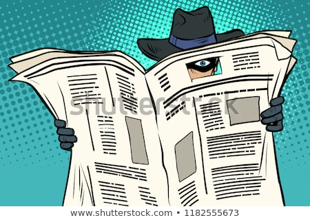 Stock photo: Spy detective in hat and sunglasses, newspaper
