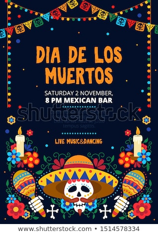 Day of the dead mexican skull celebration card Stock photo © cienpies