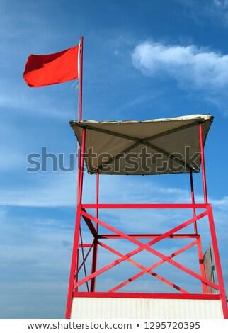 dangerous red flag in beach rough sea signal Stock photo © lunamarina