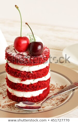 Cupcake with chocolate cream and red berry stock photo © TasiPas