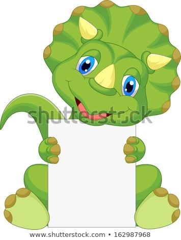 Cartoon dinosaur holding a sign. Stock photo © bennerdesign