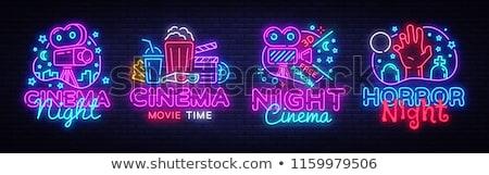 Cinema néon etiqueta conjunto filme promoção Foto stock © Anna_leni