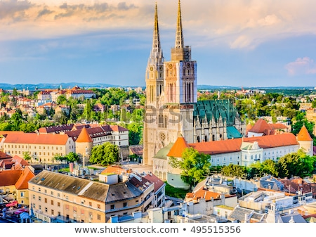 Zagreb cathedral and city center aerial view Stock photo © xbrchx